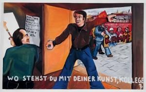 """Immendorff, """"Wo stehst du mit deiner kunst, kollege ?"""", 1974"""