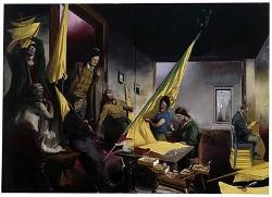 """Rauch, """"La Brodeuse"""", 2008, Huile sur toile, 118 x 165 cm"""